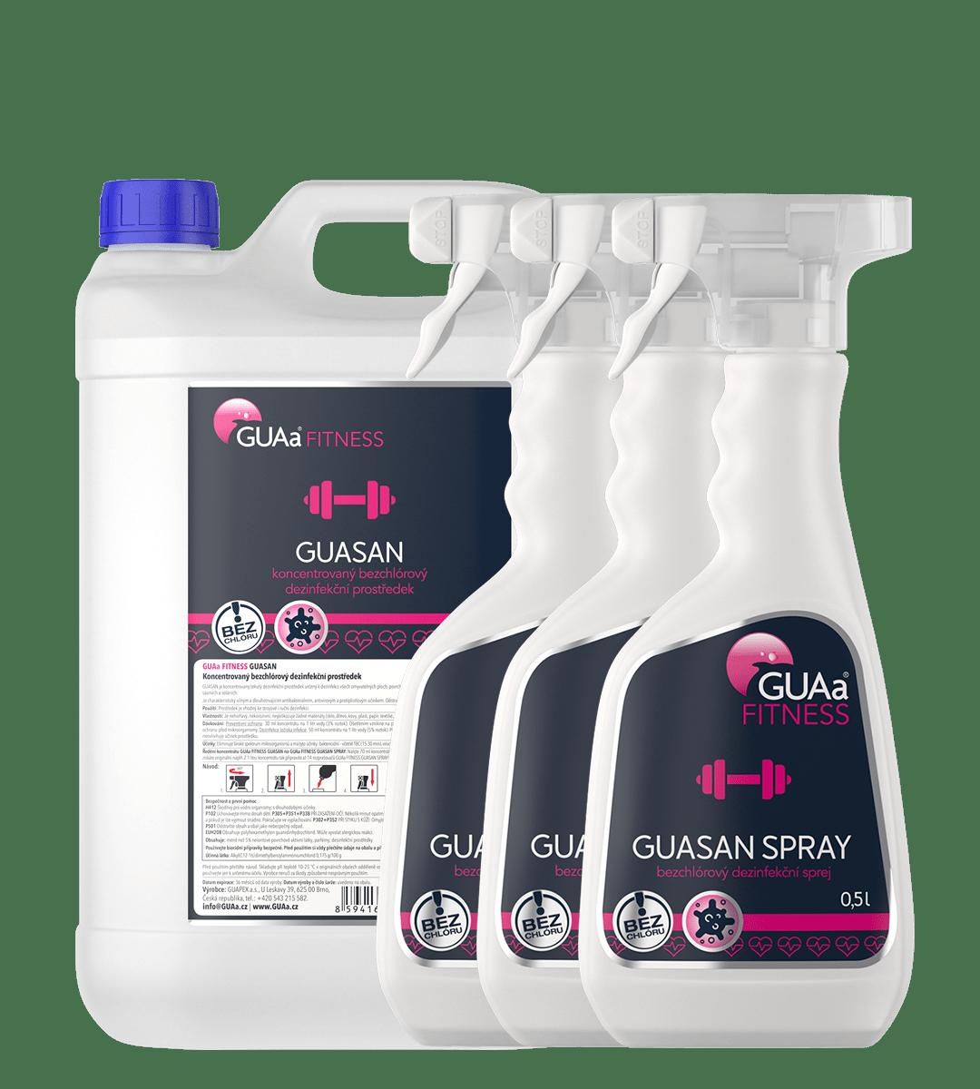 GUAa FITNESS GUASAN LARGE SET - velká sada bezchlórové dezinfekční chemie