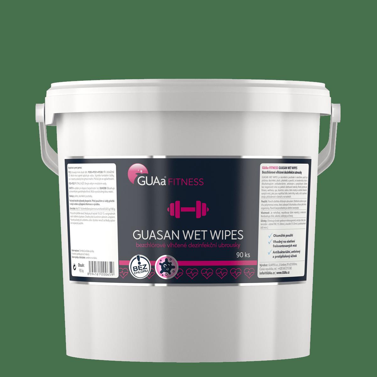 GUAa FITNESS GUASAN WET WIPES - bezchlórové vlhčené dezinfekční ubrousky
