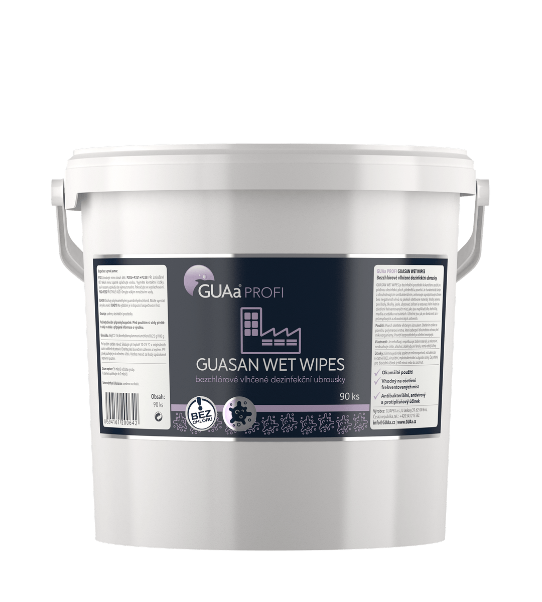 GUAa PROFI GUASAN WET WIPES - bezchlórové vlhčené dezinfekční ubrousky